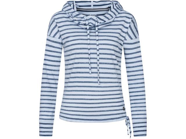 super.natural Funnel Printed Pull à capuche Femme, fine stripe print skyway/navy blazer
